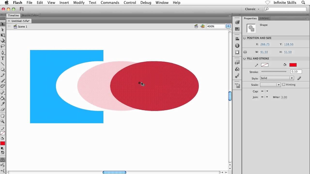 Adobe flash cs6 tutorial | understanding the merge drawing mode.