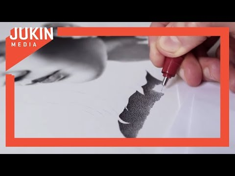 Artist Draws Portrait Of Woman Using Stippling Technique