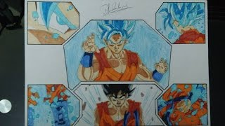 DRAGON BALL HOW TO DRAW GOKU SSGSS (SUPER SAIYAN GOD SAIYAJIN DIOS AZUL) DRAWING DIBUJO 図 悟空SSGSS