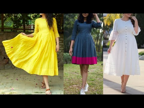 Cute Cotton Dress Designs For Girls   Cotton Frocks For Summers/ Indo Western Looks With Kurti Dress