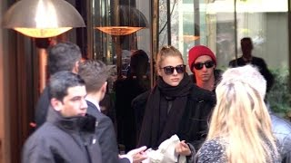 EXCLUSIVE: The Victoria Secret Angels leaving their hotel in Paris