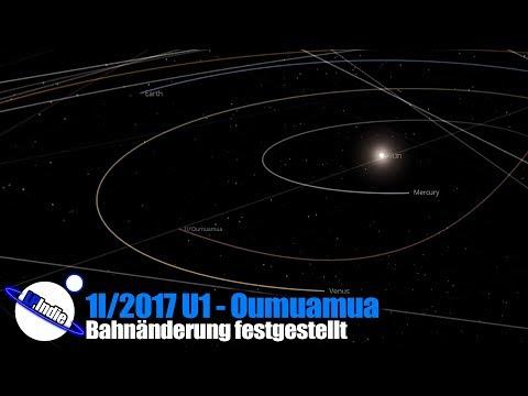 1I/2017 U1 - Oumuamua - Bahnänderung festgestellt - 29.06.2018