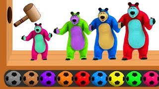 Learn Colors with Masha And The Bear Soccer Balls, Wooden Face Hammer Xylophone - Colors for Kids