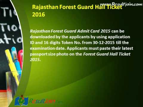 Rajasthan Forest Guard Admit Card 2015 Call Letter