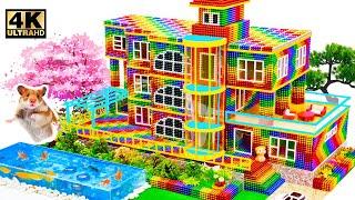 Satisfying Video | H๐w To Make Slope Mansion Have Glass Elevator And Fish Pond Magnet Balls ASMR