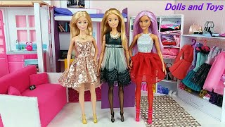 Three Barbie Sisters Morning Bunkbed bedroom Bathroom routine Dress up new dresses for dolls