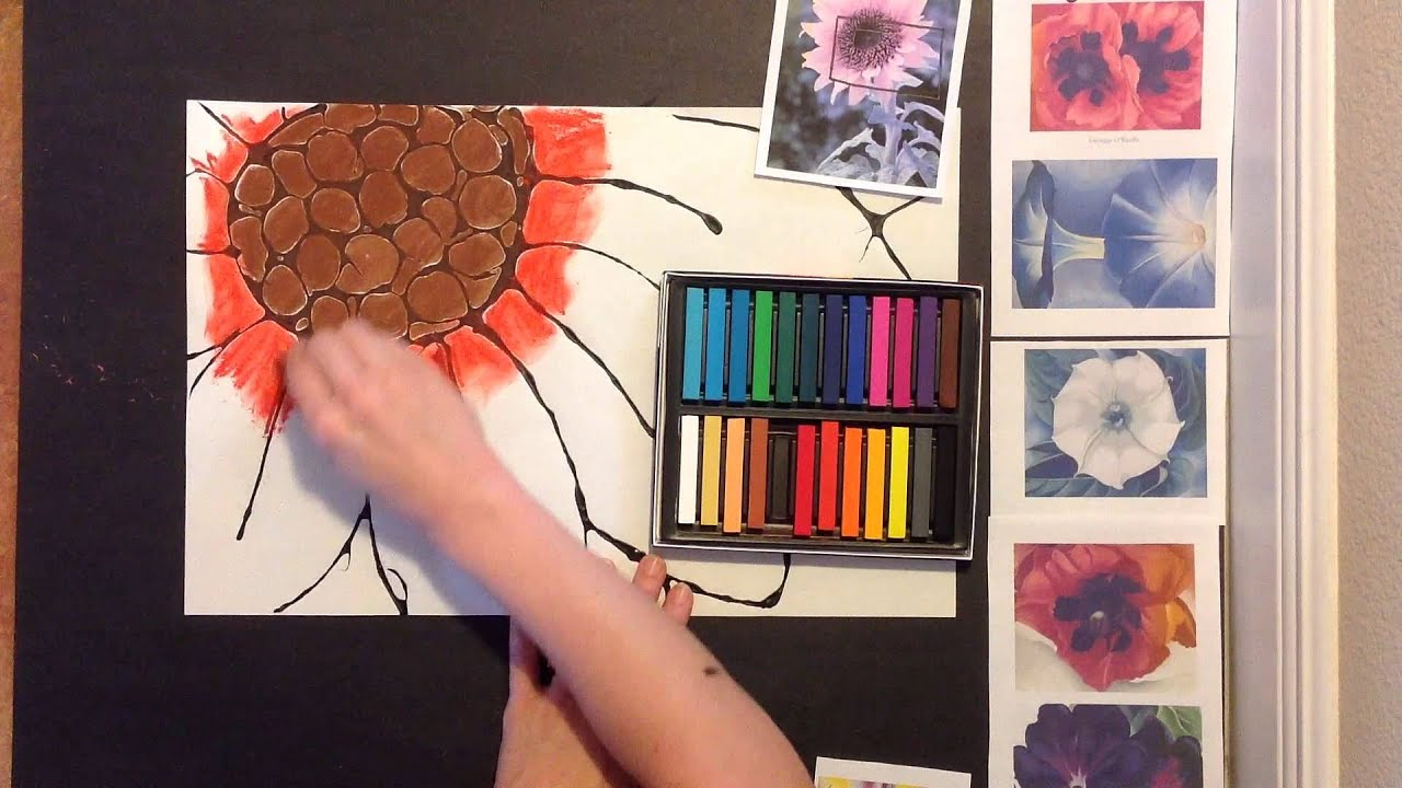 Georgia O Keeffe Inspired Chalk Flower Art Lesson