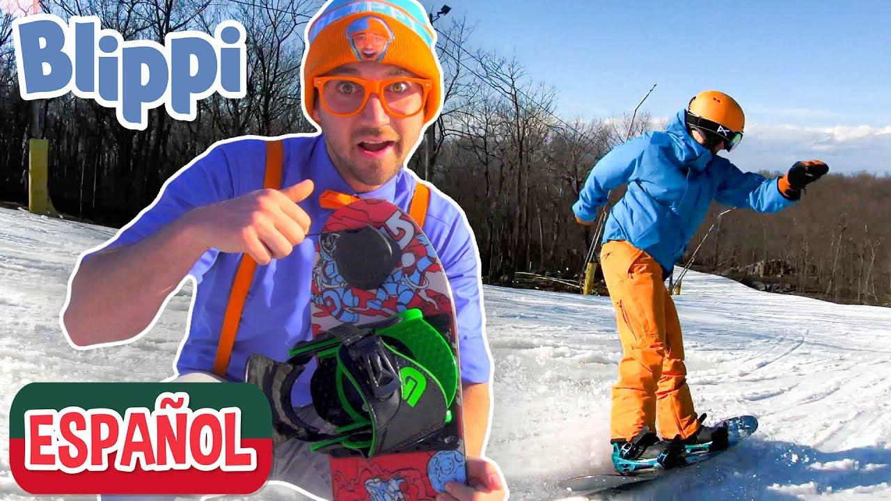 ❄️Blippi visita Mountain Creek Resort y aprende a hacer snowboard ❄️| Videos de vehículos para niños