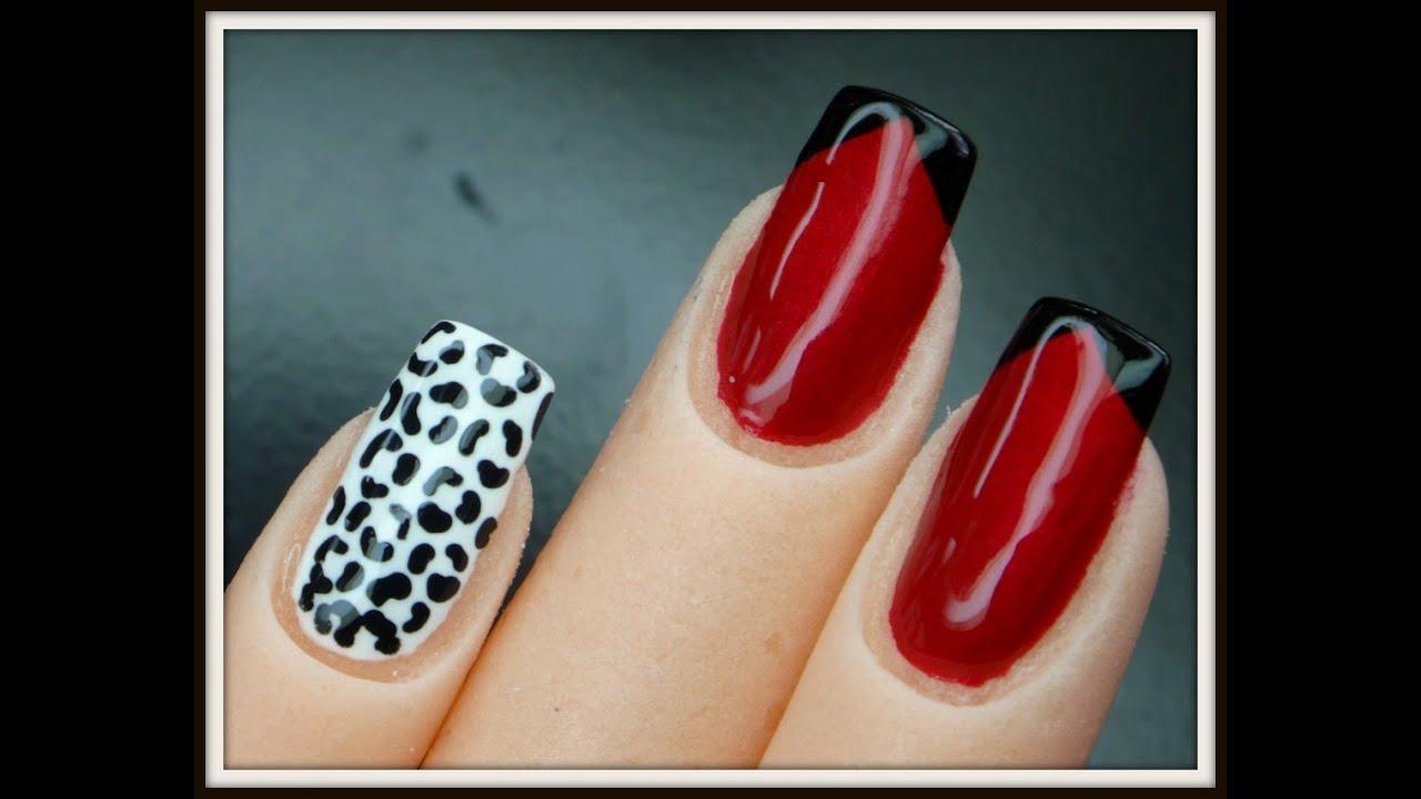 Uñas Pintadas De Rojo Con Negro