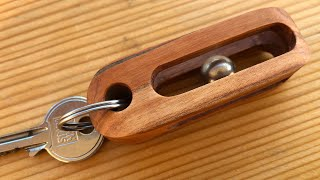 """Imposible""Ball Bearing In Block Of Wood - KEYCHAIN"