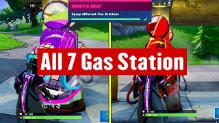 Fortnite All 7 Gas Station Locations (Spray Different Gas Stations Road Trip Challenge)