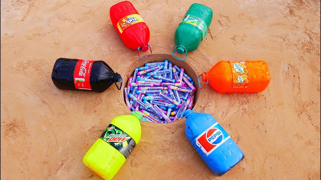 Experiment! Big Coca Cola, Sprite, Pepsi, Mtn Dew, Fanta, Mirinda VS Mentos Underground!