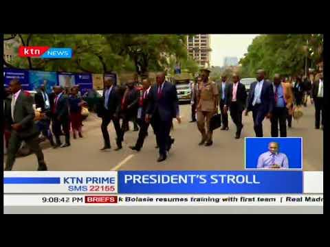 President Uhuru Kenyatta abandons motorcade as he strolls to Treasury on foot