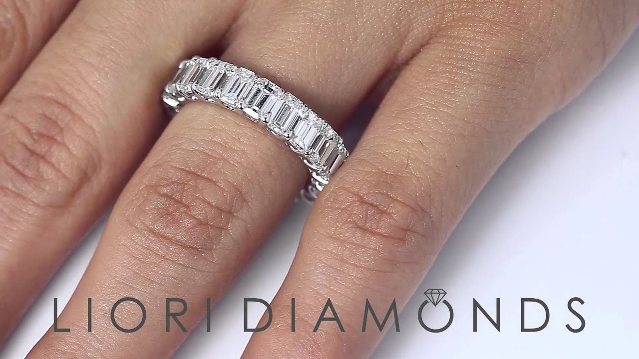 bands ring white in shank band engagement fused with diamond split gold eternity rings pave cut emerald