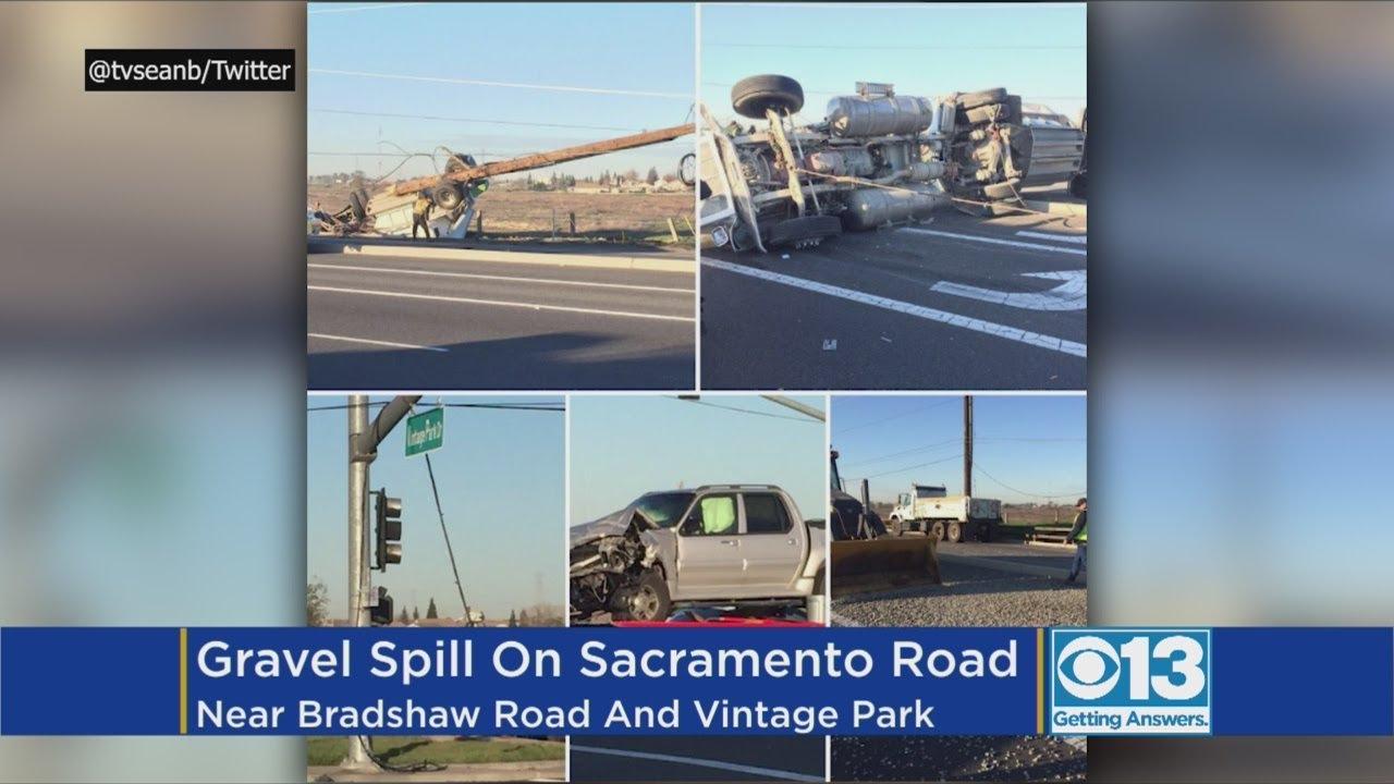 Trailer Hauling Loads Of Gravel Overturns After Crash In South Sacramento