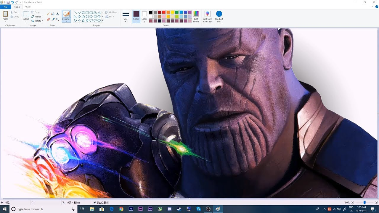 Drawing Thanos in MS Paint - YouTube