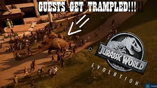 STEGOSAURUS TRAMPLES ON GUESTS!!! NEW ANIMATION IN JURASSIC WORLD: EVOLUTION!!