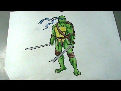 Aprende A Dibujar Una Tortuga Ninja Leonardo Youtube