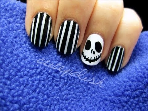 Jack Skellington Nail Art (Tim Burton) - Jack Skellington Nail Art (Tim Burton) - YouTube