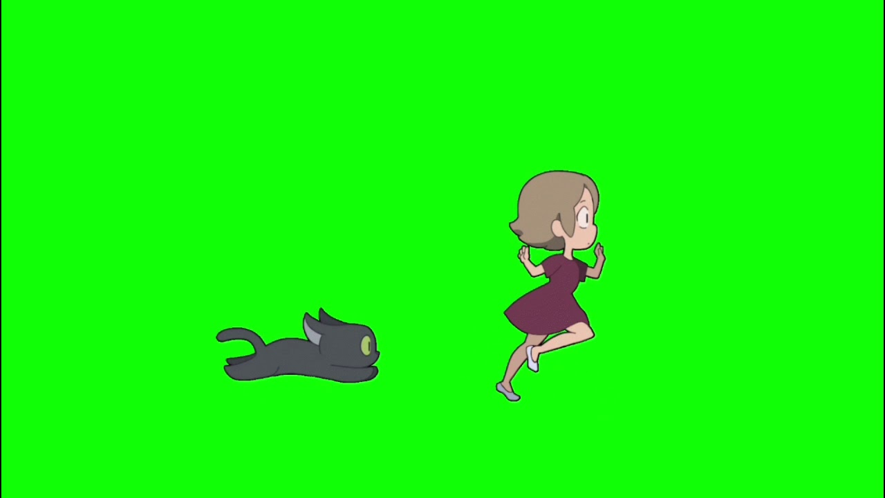 ✔️GREEN SCREEN EFFECTS: Anime girl running with black cat