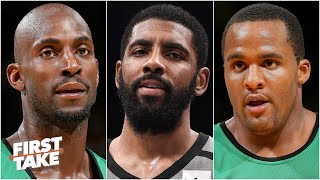 Reacting To Kevin Garnett & Glen Davis Blasting Kyrie For Stomping On The Celtics' Logo | First Take