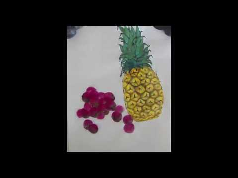 How to paint pineapple and lichee in Chinese brush painting