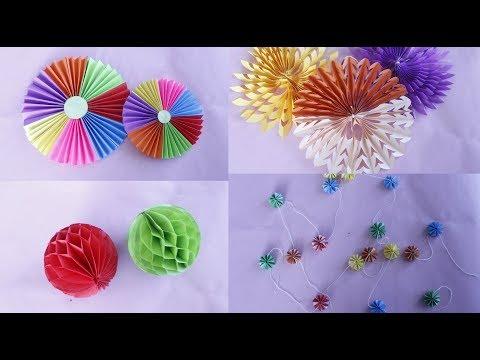 4 Easy Paper Decorations    DIY-Easy Diwali decoration