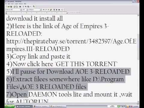 How to download and Install Age of Empires III-RELOADED [PART 1/2]