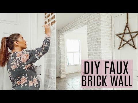 DIY FAUX BRICK WALL / FARMHOUSE DIY ON A BUDGET