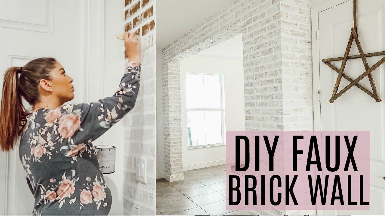 Diy Faux Brick Wall Farmhouse Diy On A Budget Youtube