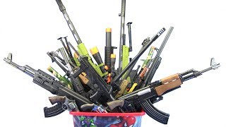 Box of Toys !! Military Toys for Kids Guns AK-47 ,M16 rifle,Cap Gun.. Video for Kids