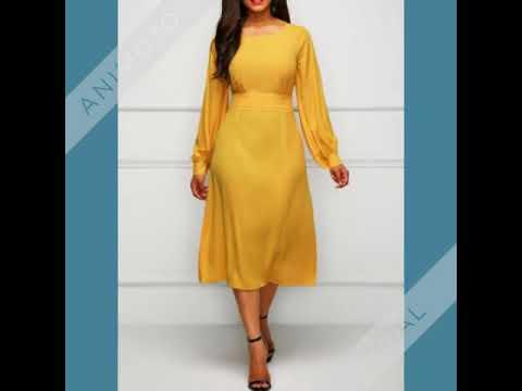 Band Waist Long Sleeve Yellow Dress - YouTube d041dcfb3