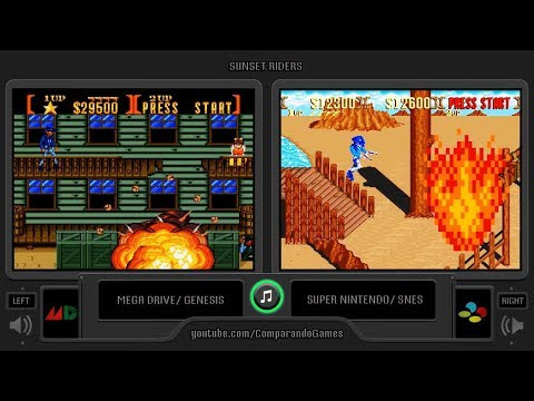 Sunset Riders (Sega Genesis vs SNES) Side by Side Comparison