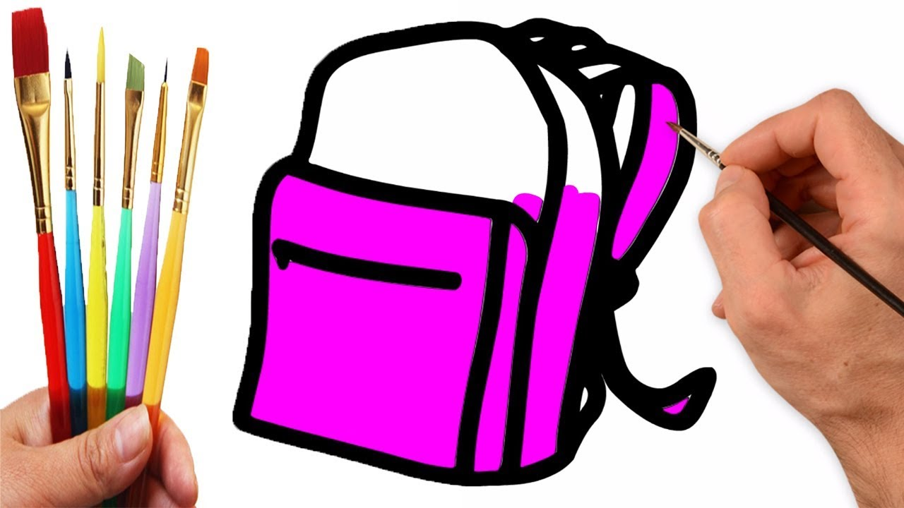 How to Draw School Bag for Boys and Girls - School Bag Coloring ...