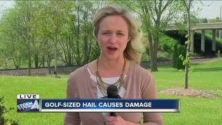 Golf ball sized hail causes damage