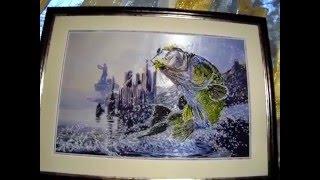Удачная рыбалка. Оформленная картина.