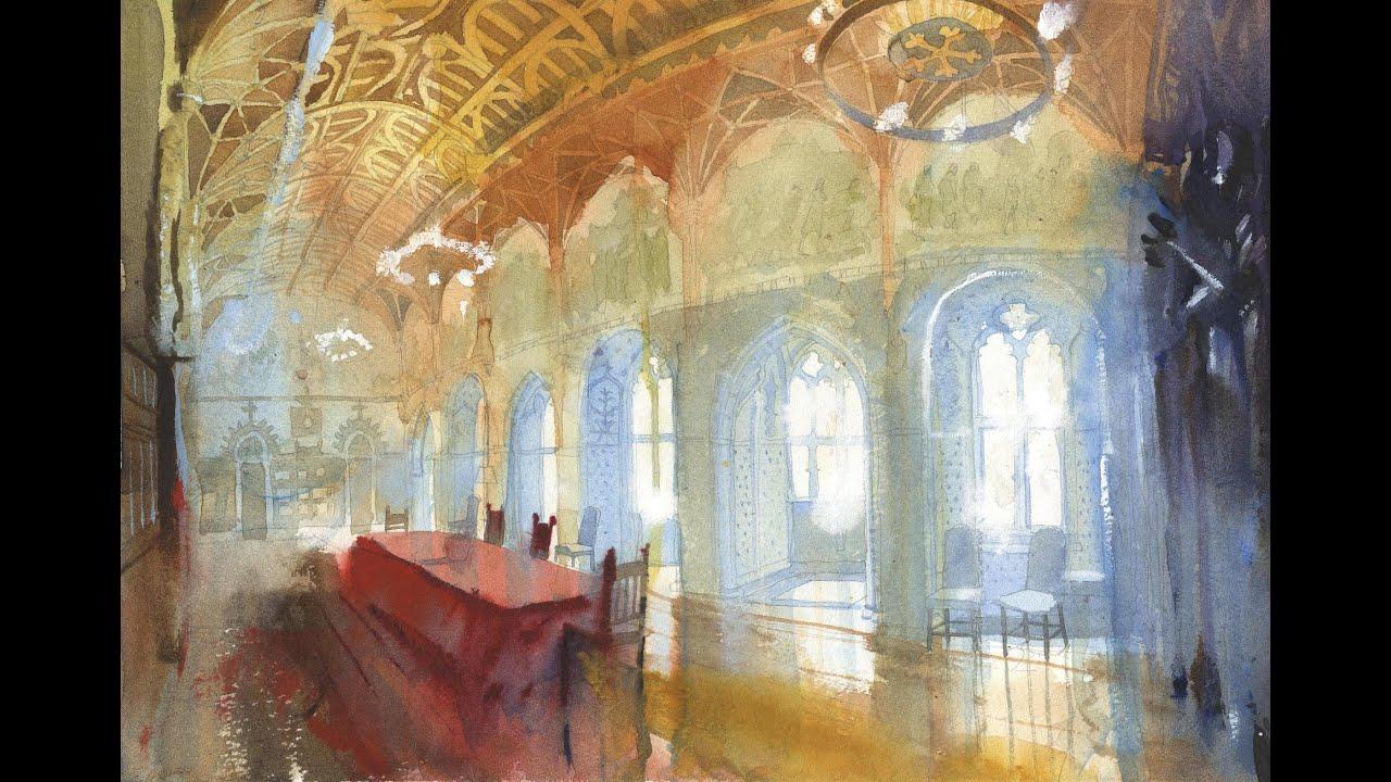 watercolour interior demo by simon jones youtube