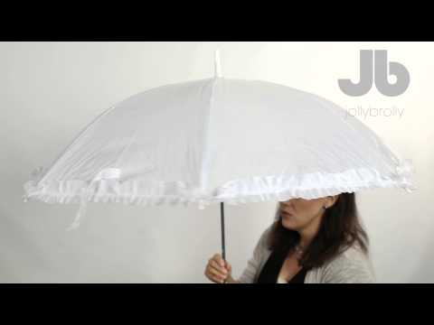 Budget white wedding umbrella with frill by Jollybrolly