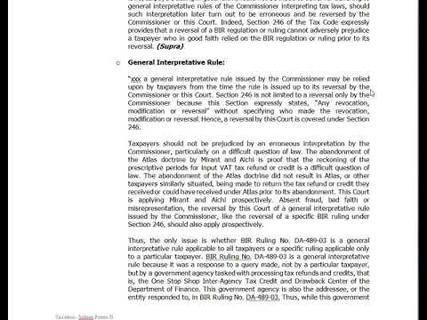 Taxation - NIRC Section 246 (Non-Retroactivity of BIR Rulings)