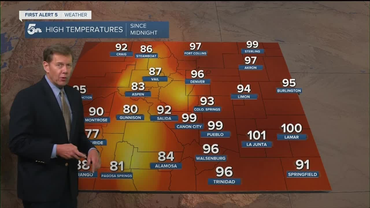 Hot on Friday with some storms moving east of the mountains