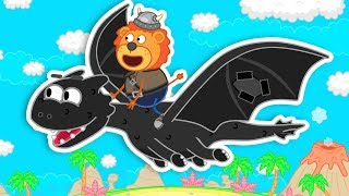 Lion Family Who can Fly on Dinosaur? Cartoon for Kids