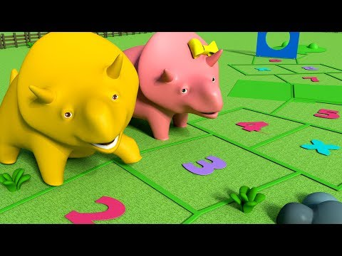 Learn Numbers with Dino and Dina : Play Hopscotch - Learn with Dino the Dinosaur videos for kids