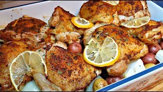 Baked Lemon Chicken with Garlic Lemon Cream Sauce | Baked Lemon Chicken Recipe