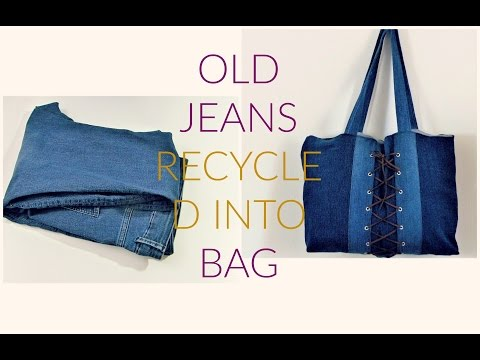 DIY OLD JEANS RECYCLED INTO A BAG thumbnail