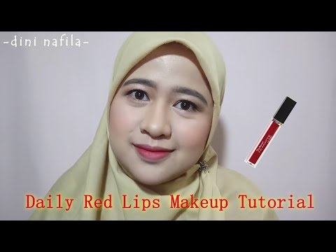 daily-red-lips-makeup-tutorial-||-purbasari-hi-matte-lip-cream-shade-05-freesia