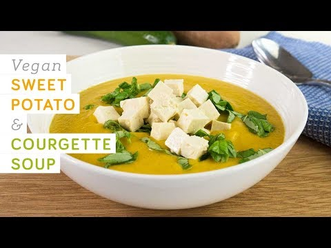 Vegan sweet potato & courgette (zucchini) soup – with ginger & basil, quick, easy and healthy
