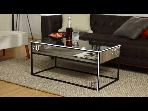 Rustic Glass Coffee Table - Gray Wash