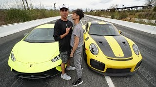 WE RACED FOR $100,000! (Porsche 911 GT2 RS vs Lamborghini Huracan Performante)