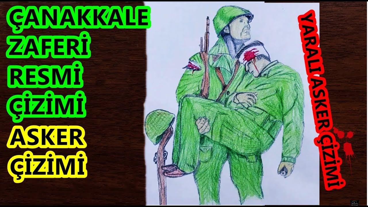 Yarali Asker Tasiyan Asker Cizimi Canakkale Zaferi Cizimi 19
