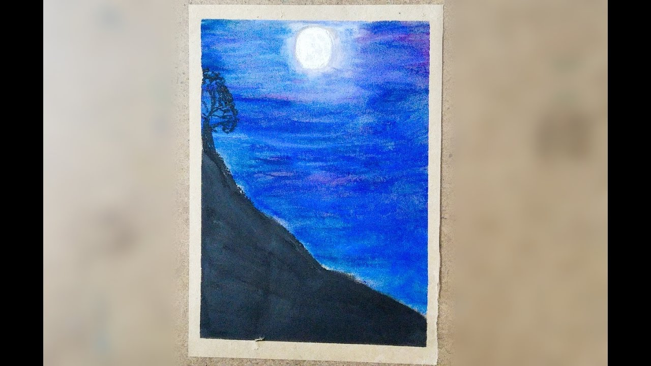 Pastel Boya Ile Manzara Resmi Cizimi Oil Pastel Scenery Of Night